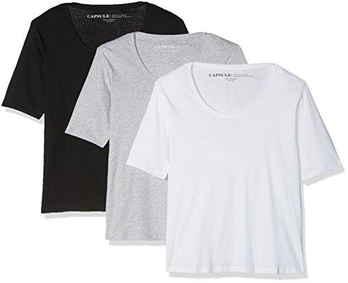 Simply Be Damen T-Shirt, 3er Pack Multicoloured (Blk/Wht/Gml)
