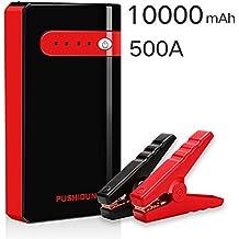 Arrancador de Bateria Coche Portatil 10000mAh 500A Jump Starter Power Bank Arrancador de Moto Arranque con Inteligente Cables
