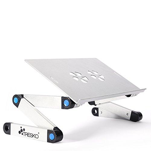 TRESKO® klappbarer Notebook-Tisch Laptop-Ständer Beamer-Tisch, aus hitzeabsorbierendem Metall, 15 kg Tragkraft, mit Luftschlitzen zur Laptop-Kühlung, auch als Frühstücks-Tablett oder Stativ verwendbar, individuell höhenverstellbar für ergonomische Sitzposition, in verschiedenen Farben (schwarz und silber) und Ausführungen (mit und ohne Lüfter, Stromversorgung per USB) (Silber - ohne Lüfter)