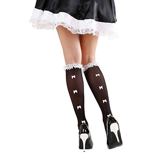 NET TOYS Dienstmädchen Strümpfe Maid Kniestrümpfe mit Schleifen und Rüschen Zimmermädchen Nylonstrümpfe Hausmädchen Nylons Schleifchen Damenstrümpfe Cosplay Kostüm - Maid Kostüm Accessoires