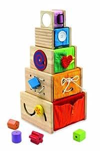 I'm Toy 108871 Multi-Spielkisten - 5 stapelbare Holzkistchen mit vielen Möglichkeiten die sensorischen Fähigkeiten zu fördern