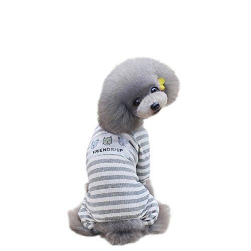 pandada Pet Hund Pyjama, Puppy Doggy Sommer T-Shirt Katze Shirt Jumpsuit Nachtwäsche (Gestreiften Pyjama Pink)