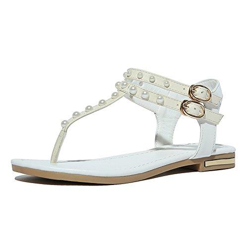 Zicac Damen Sandalen Flip Flops Perlen Sandalen mit Keilabsatz Wei