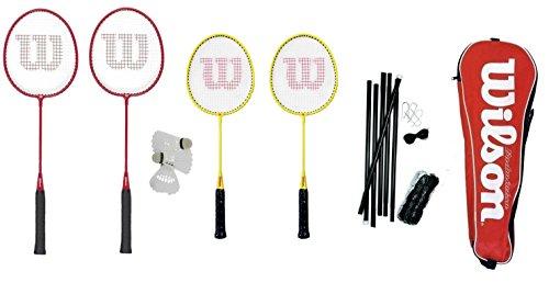 Wilson Badminton-Set, für die ganze Familie (2 Erwachsene, 2 Kinder), mit Netz, Pfosten und Federbällen