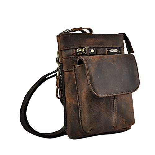 Rindsleder Leder Cross Body (Echtleder Outdoor Gürteltasche/Hüfttasche/Umhängetasche/Handytasche/Crossbody Bag für Herren - 100% Rindsleder (Braun))