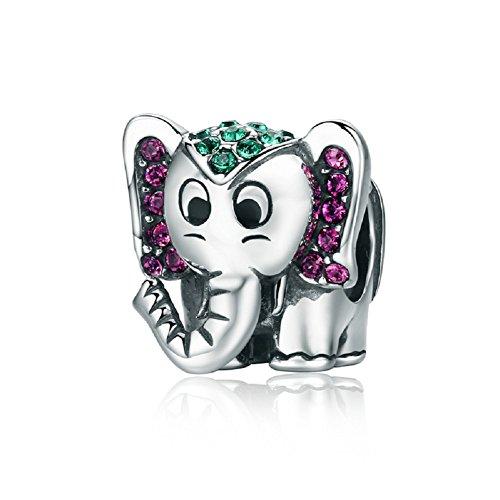Lucky elefante plata de ley 925cuentas charms verde Morado CZ Navidad regalos para pulseras Fashion joyas