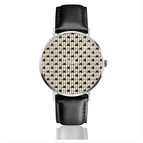 Armbanduhr Quarzuhr Cappuccino Creme Schwarz Ätzung Casual Uhren für Herren Damen Damen mit schwarzer Lederuhr