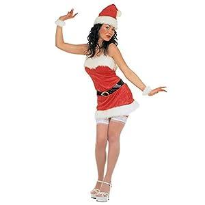 WIDMANN 15452Adultos Disfraz Miss Santa de Terciopelo, Vestido, cinturón, Sombrero y Pulseras