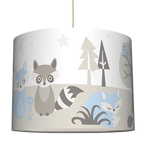 Anna Wand Hängelampe Little Wood HELLBLAU/GRAU BEIGE - Lampenschirm für Kinder/Baby Lampe mit Waldtieren - Sanftes Kinderzimmer Licht Mädchen & Junge - ø 40 x 30 cm (Lampenschirm Hase)