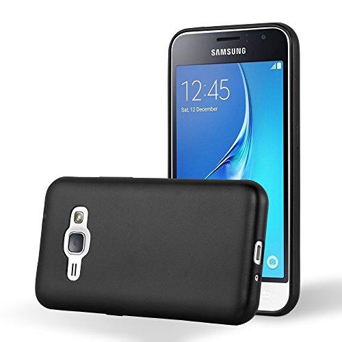 Preisvergleich Produktbild Cadorabo Hülle für Samsung Galaxy J1 2016 (6) - Hülle in METALLIC SCHWARZ – Handyhülle aus TPU Silikon im Matt Metallic Design - Silikonhülle Schutzhülle Ultra Slim Soft Back Cover Case Bumper