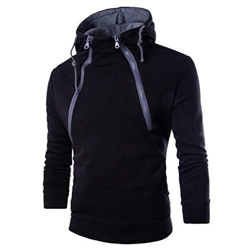Binggong Herren Shirt,Herren Herbst und Winter Kapuzenpulli Neue Feste Farbe Schlank Langarm-Sport-Fitness-Kapuzen-Shirt