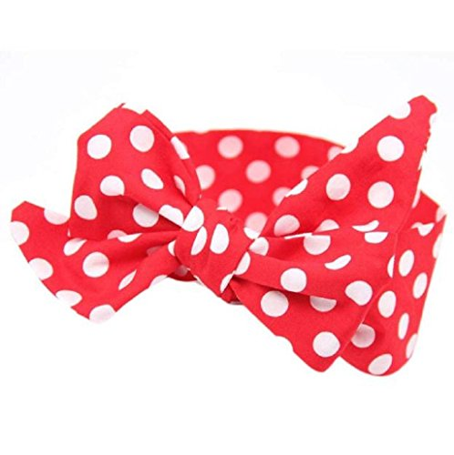 Sannysis Diademas para Niñas Conejo Arco Hairband Turbante Knot Headband, Punto de Onda (Rojo)
