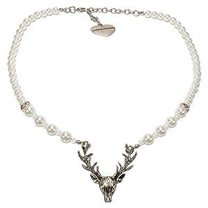 Alpenflüstern Perlen-Trachtenkette Hirsch – Damen-Trachtenschmuck mit Hirsch-Geweih, Elegante Dirndlkette in schwarz und Creme-weiß DHK203