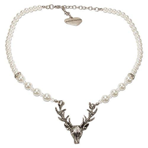 Alpenflüstern Perlen-Trachtenkette Hirsch - Damen-Trachtenschmuck mit Hirsch-Geweih, elegante Dirndlkette