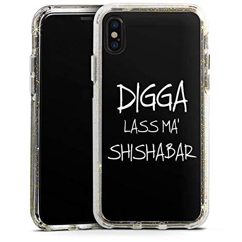 DeinDesign Apple iPhone XS Bumper Hülle Gold transparent Bumper Case Schutzhülle Glitzer Look Shisha Yallah