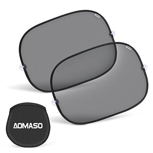 Aomaso Kinder Auto-Sonnenschutz, Selbsthaftende Sonnenblenden für Seitenfenster (2 Stück), Schutz vor schädlichen UV-Strahlen, Baby Autosonnenschutz passt universell