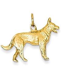 Yellow-gold 14k Solid Polished 3-Dimensional German Shepherd Charm