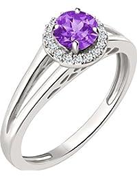 Silver Dew New 925 KT Silver White Plated Diamond February BirthstonePurple Amethyst Ring For Women