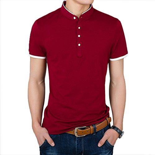 Summer Mae Herren Poloshirt Beiläufig mit Mandarinenkragen und weißen Wörtern Rot