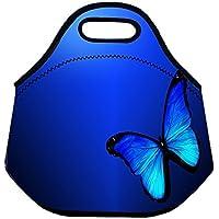 Preisvergleich für Isolierte Neopren Lunch Tasche 3D-Druck Wasserdicht Erwachsene Handtasche Picknick Aufbewahrungstasche Lunchbox Frischhaltedose Gourmet Tote für Schule Arbeit Büro Dark Blue(Butterfly)