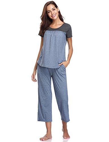 Aibrou Damen Sommer Patchwork Pyjama Set, Zweiteiliger Kurzarm Schlafanzug Nachtwäsche Set Blau M (Blaue Sommer-pyjama)