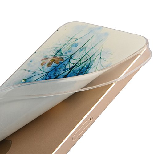 Coque en Silicone pour iPhone 6 plus, iPhone 6 plus Coque Etui Housse, iPhone 6s plus Coque Etui Portefeuille, iPhone 6 plus Silicone Case Cover, Ultra Mince Coque de Protection en Silicone et TPU pou Fleurs Blanches