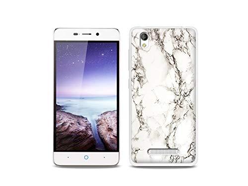 etuo Handyhülle für ZTE Blade A452 LTE - Hülle, Silikon, Gummi Schutzhülle - Weißer Marmor