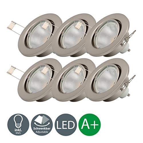 LED Einbaustrahler Schwenkbar Inkl. 6 x 5W 400lm GU10 Leuchtmittel 3000K warmweiss IP23 LED Einbauleuchte