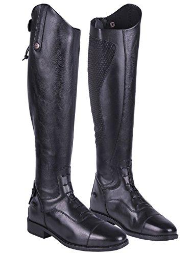 QHP Damen Lederreitstiefel Nina mit anti-slip Beschichtung an der Innenseite weite Wadenweite (38, Schwarz)