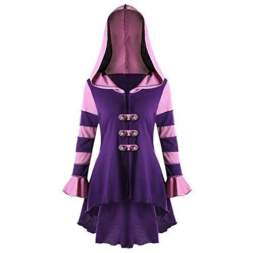 Amphia - Unregelmäßiges zweireihiges Manteloberteil mit Kapuze - Mode Frauen High Low Mit Kapuze Langarm Korsett Zweireiher Mantel Bluse(Lila,XL)