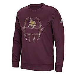 NCAA Texas State Bobcats Mens Sideline Helmet Dot Climawarm Team Issue Crew Sweatshirt, Maroon, Large