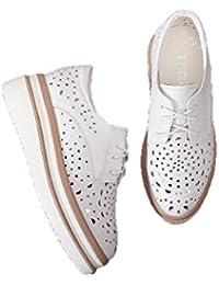 Los Zapatos Blancos Huecos del Verano Zapatos Femeninos Blancos de la Plataforma Calzan los Zapatos Ocasionales...