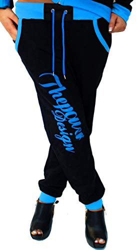 Cinc Damen Jogginghose Trainingshose Sporthose Hose Neon Power Sweatpants H.516 (Schwarz-Blau, L)