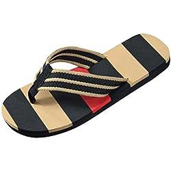 Yesmile Sandalias para Mujer Zapatos Casual de Mujer Sandalias de Verano para Fiesta y Boda Chanclas a Las Rayas de Casa Sandalias de la Playa con Extra Gran Tamaño (42, Negro)