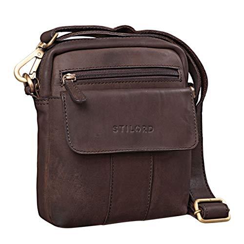 STILORD 'Jerry' Borsello Uomo Tracolla Pelle Borsa Messenger Piccola Vintage Cuoio Borsa Tablet Piccola da Viaggio, Colore:marrone scuro - pallido