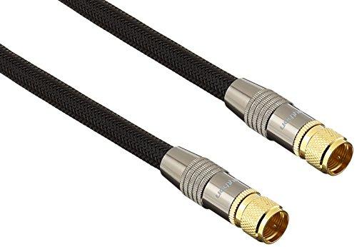 PYTHONSeries PREMIUM SAT TV Antennenkabel - F-Stecker beidseitig, vergoldet - RG6 Koaxialkabel mit 4-fach Schirmung 120 dB / 75 Ohm – Vollmetallstecker, KUPFERLEITER, Nylongeflecht - schwarz, 7,5 m