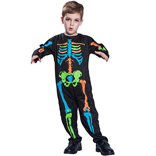 ZHEN Halloween Punk Bones Kostüm Kids Boys Lovely Skeleton Kostüm Jumpsuit (Funky Bones Kostüm)