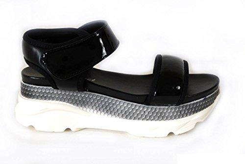 Femme Vacances d'été Peep Toe Sandales Mules Plage coulisses Chunky chaussures plates Black (82138-5)
