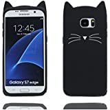 Samsung Galaxy S7 Edge étui,Samsung Galaxy S7 Edge Coque,Samsung Galaxy S7 Edge cover,Bande dessinée 3D mignon chat doux Silicone [Shock Proof]Case Cover for Samsung Galaxy S7 Edge -noir