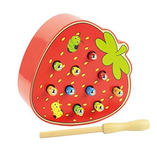 STOBOK Magnetisch Spielzeug Holz Wurm Fangen Spiel Erdbeere Form Lustiges Magnetspiel Kinder Motorikspielzeug für Kinder