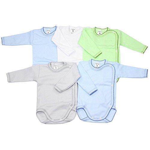 TupTam Unisex Baby Langarm Wickelbody aus Baumwolle 5er Set, Farbe: Junge, Größe: 62