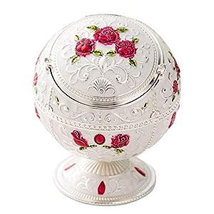 Kepfire Europäisch Metall mit Deckel Globe Aschenbecher Jahrgang Kreativ Hotel Wohnzimmer Kaffee Tabelle Deko Aschenbecher Rauchen Wohnaccessoires - Rot Rose