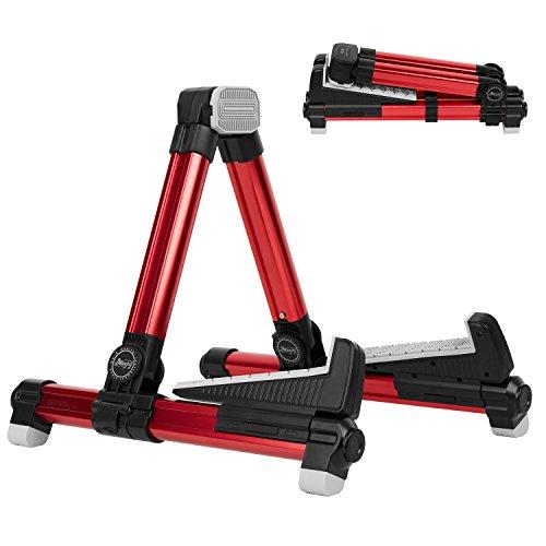 Mugig Supporto Pieghevole per Chitarra Acustica, Elettrica e Ukulele, in Alluminio, Stabile e Facile portare (Rosso)