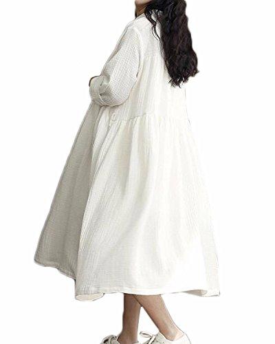 ZANZEA Femme Automne Vintage Col V Longue Tunique Lâche Maxi Dress Bal Cocktail Linge Coton Robe de Soirée Avec Ceinture Blanc