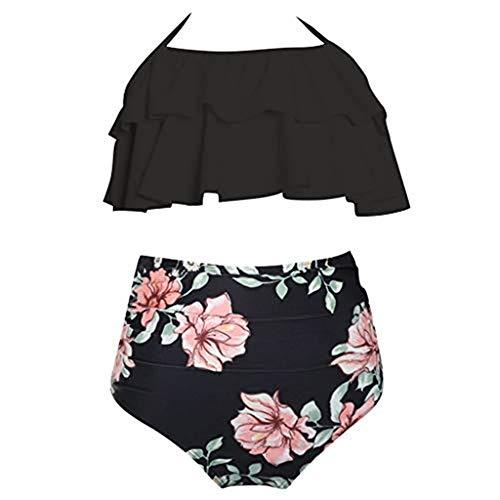 Storerine Siamesischer Mode-Bikini Mit Hoher Taille, Eltern-Kind-Badeanzug, Mutter und Tochter Familienanzug Strandhose Schwarz ()