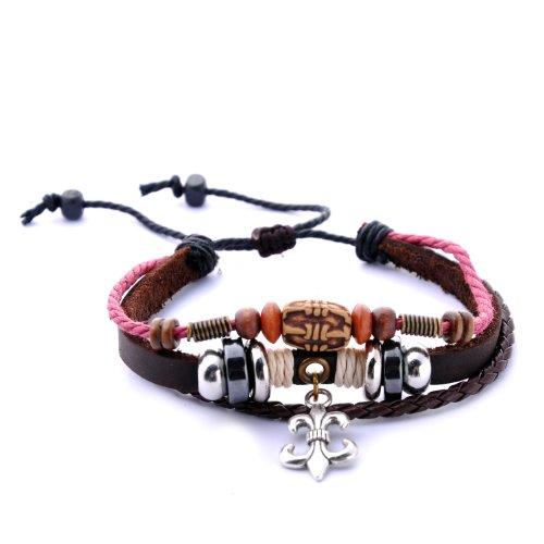 Morella Damen geflochtenes Armband aus Leder mit Ringen, Beads und Fleur de Lis Anhänger