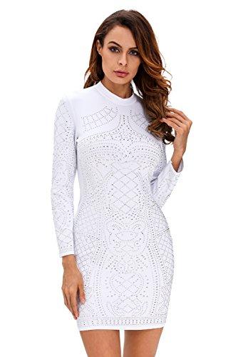 Neue Damen weiß glitzernden Nieten Lange Ärmel Kleid Club Wear Party Wear Größe L UK 12EU 40 (Verziert Mieder)