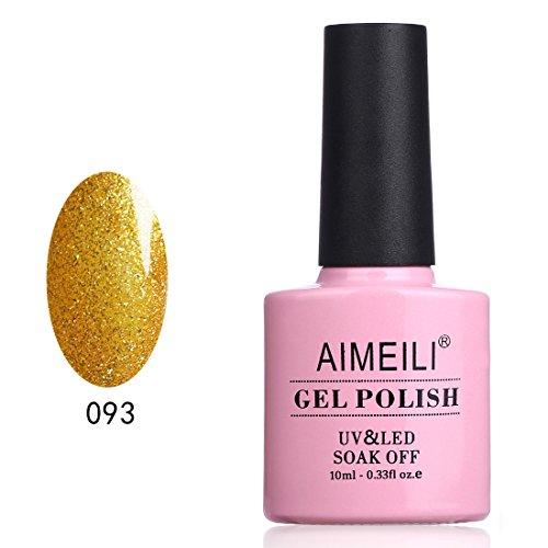 AIMEILI Vernis Gels Semi Permanents Gold Paillette Ongle Soak Off UV LED Vernis à Ongles Or Gel Polish - My Fantasy Gold (093) 10ml