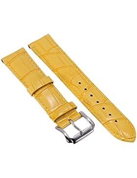 22mm Unisex Gelb Genuine Leder Uhrenarmband Uhrenarmbaender Uhrband Watch Band Watch Strap mit Edelstahlschliesse