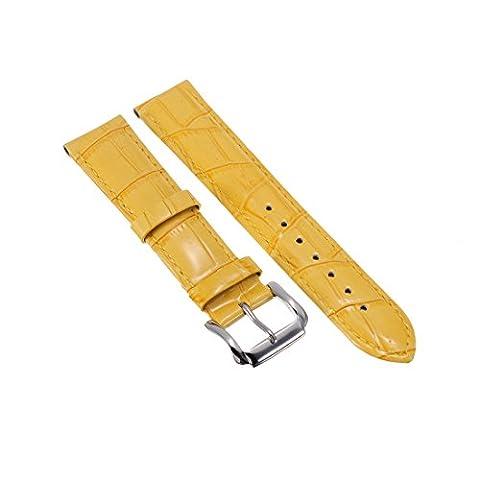 20mm Bracelet Montre Bande pour Montre Mixte Remplacement Deployant de Cuir Jaune Bling Bling